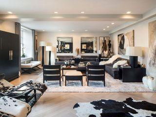 黑色复古美式风格公寓室内装潢效果图