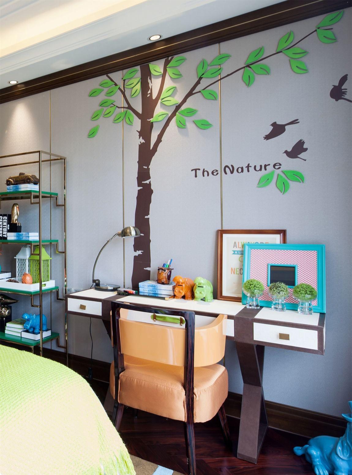清新自然美式装修书房立体墙贴效果图