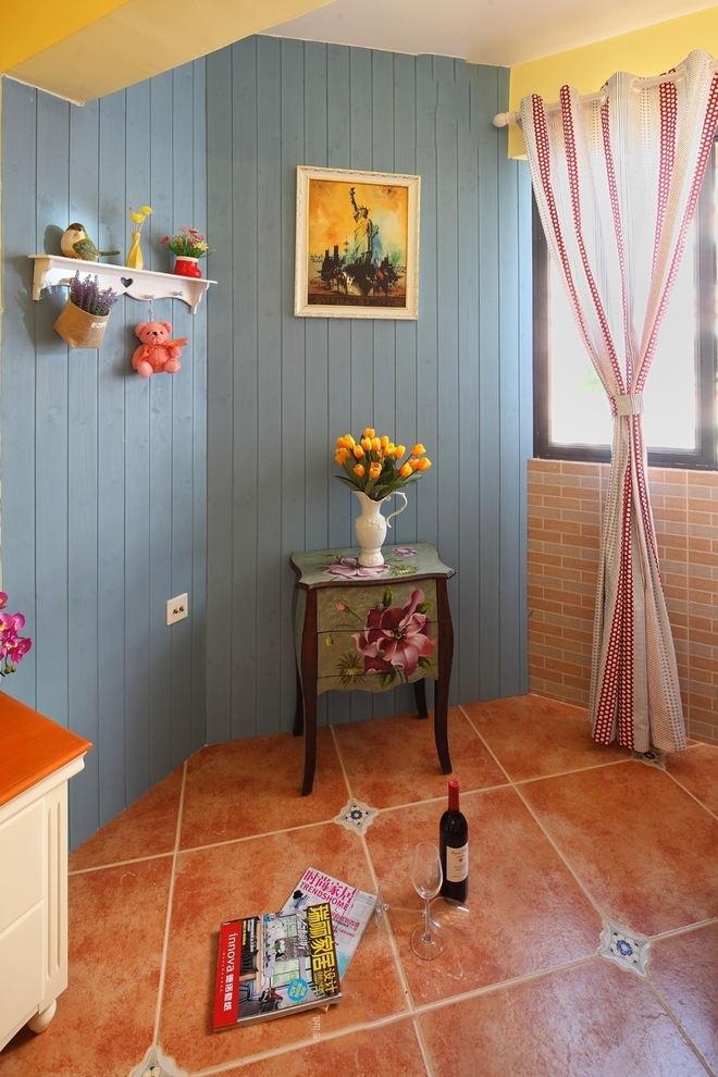 蓝色复古田园设计木质背景墙效果图