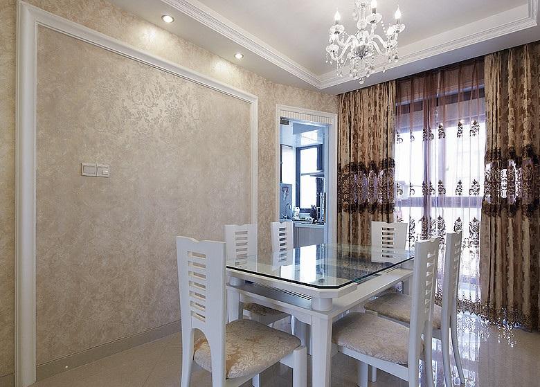 精致唯美现代简欧风格餐厅窗帘装饰效果图