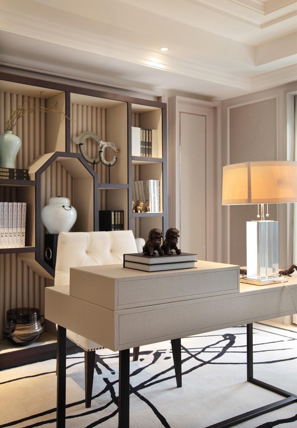 精致时尚新古典风书房整体书柜设计图