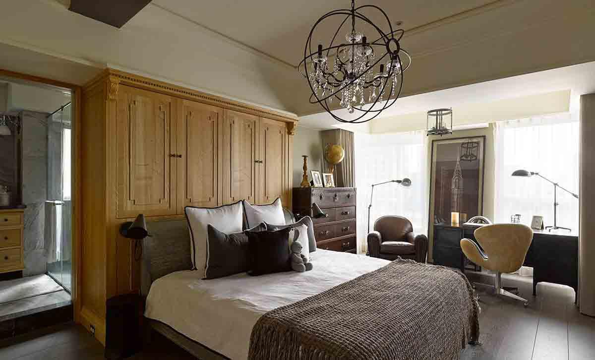 复古美式设计卧室实木床头柜效果图