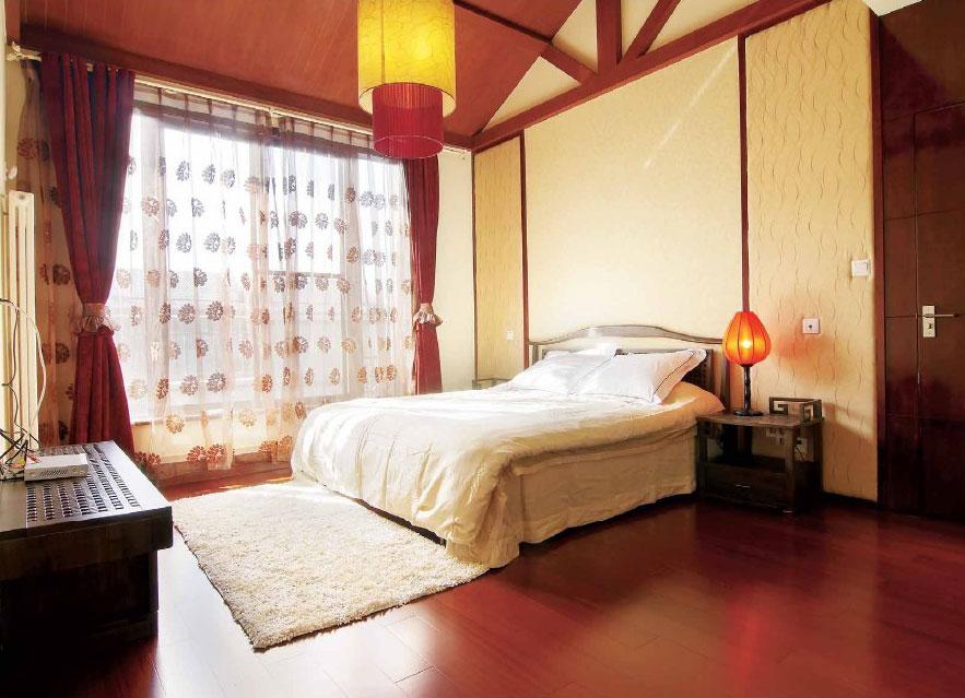 新中式风格卧室窗帘装饰效果图