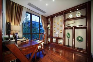 古朴东南亚设计书房实木家具效果图