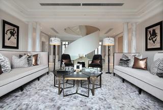 时尚黑白新古典风格别墅客厅效果图