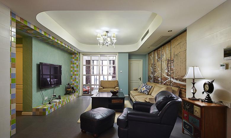 美式复古怀旧风四室一厅装潢案例图