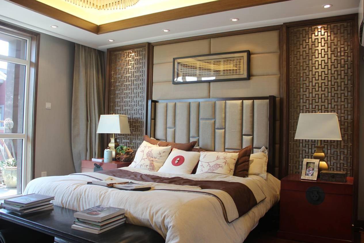 仿古中式卧室床头背景墙装饰效果图
