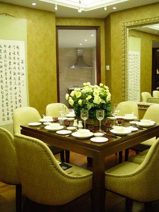 青绿色现代中式餐厅字画装饰效果图