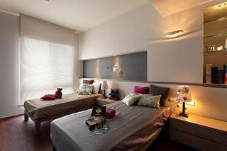 简约现代风格卧室创意收纳背景墙设计装修欣赏图
