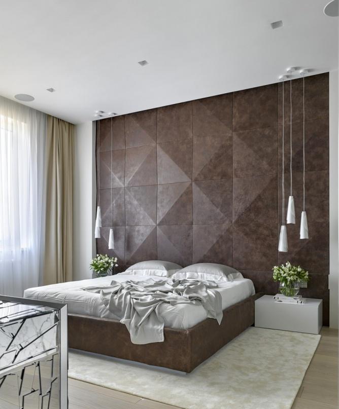 咖啡色简约卧室背景墙装饰效果图