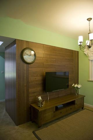 咖色实木田园家居客厅电视背景墙效果图