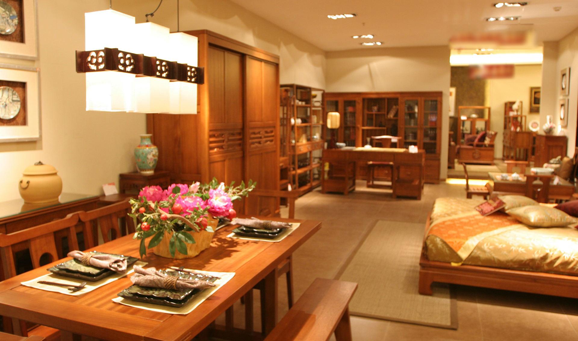 新中式小户型餐厅卧室一体