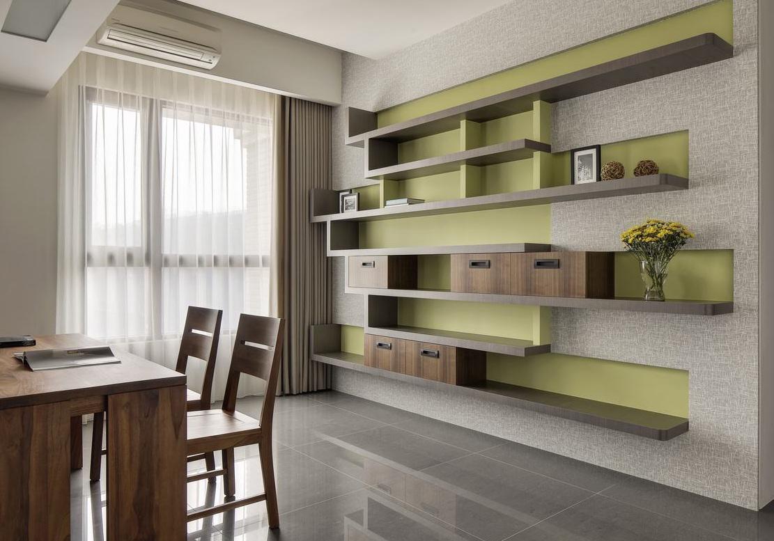 清新果绿简约现代风书房隔板设计效果图