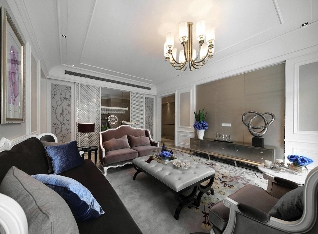 时尚简欧风格客厅背景墙装潢效果图
