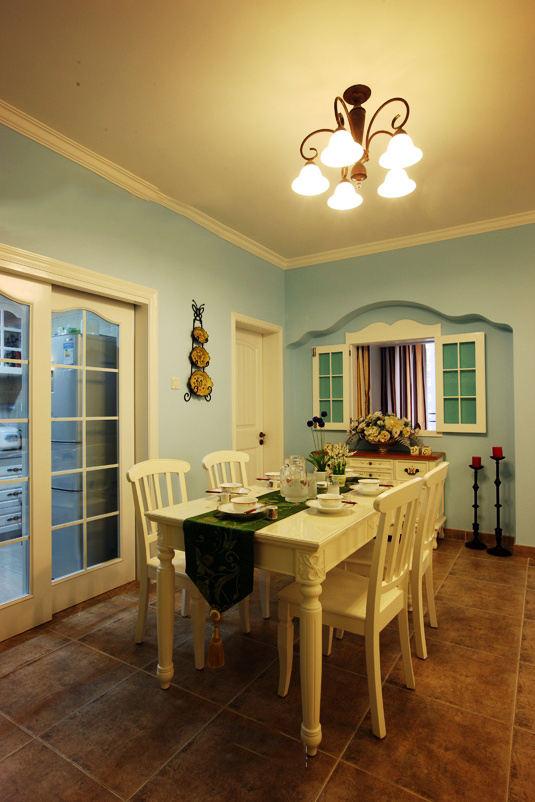 蓝色清新田园地中海餐厅设计装修效果图