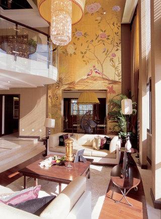 儒雅新中式风格别墅挑高客厅设计装饰
