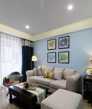 美式装饰风格客厅垂钓式灯饰布置图