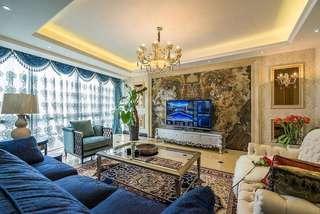 奢华精致欧式客厅复古背景墙效果图