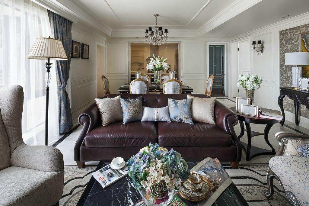 美式复古风客厅皮艺沙发效果图