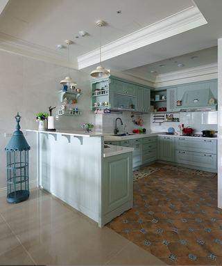 浅绿色美式开放式厨房设计装修图