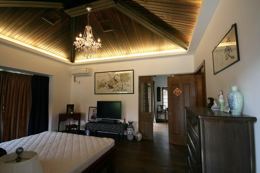 简朴中式古典风格卧室吊顶装饰图