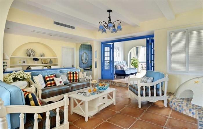 海天一色地中海风格三居室内设计装修效果图