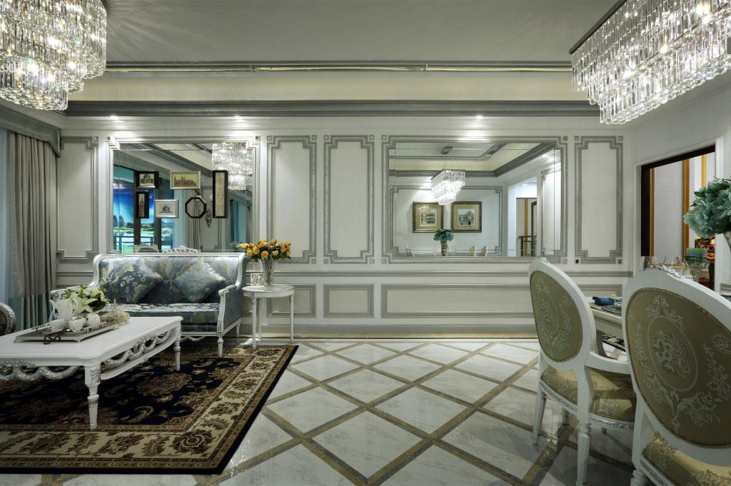 精致高贵现代欧式风格别墅室内背景墙设计装修图