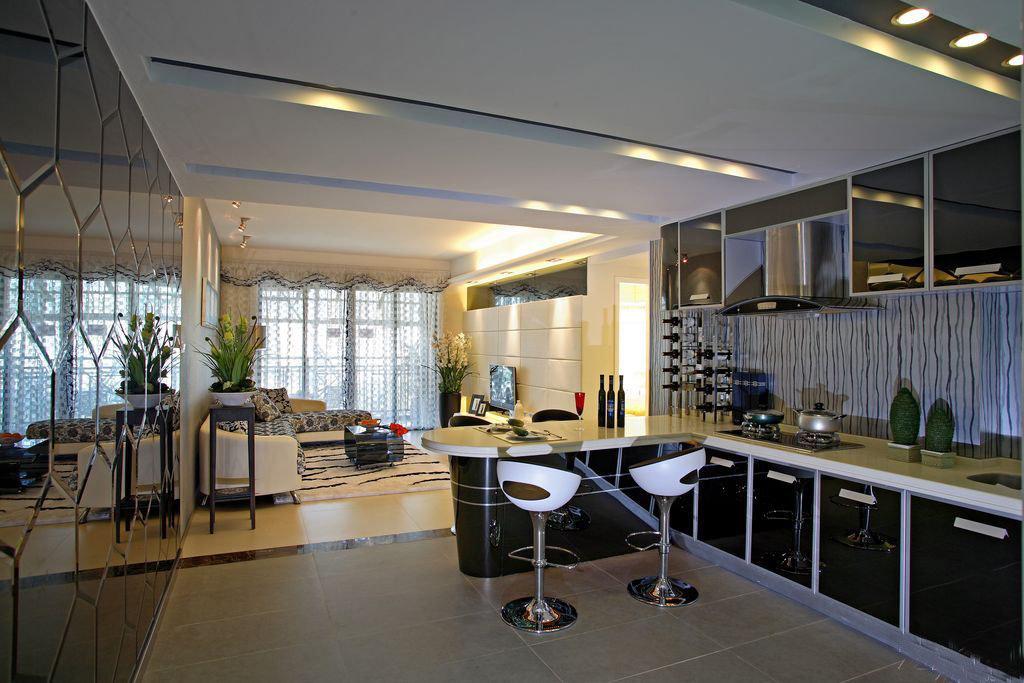黑白风雅别趣时尚现代家居吧台装修效果图