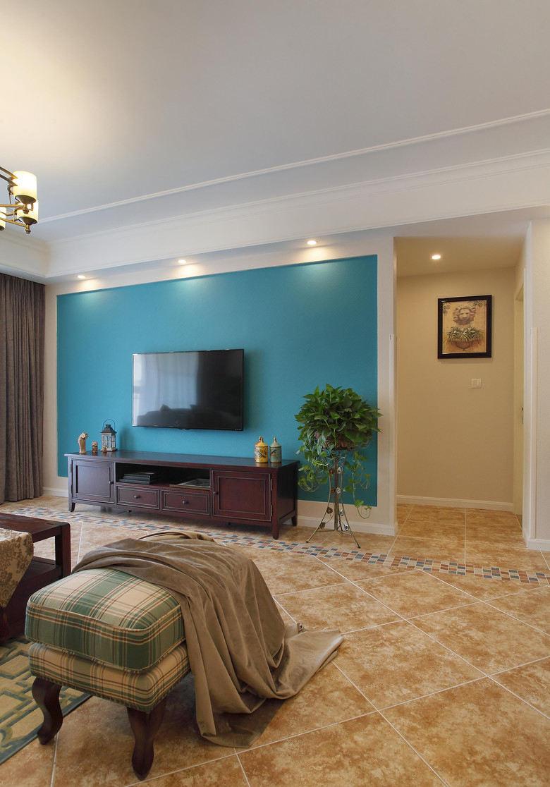 怀旧清新美式风格客厅蓝色电视背景墙效果图