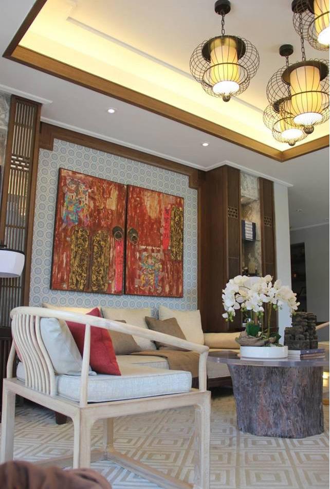 传统古典中式装修风格三居客厅装饰效果图