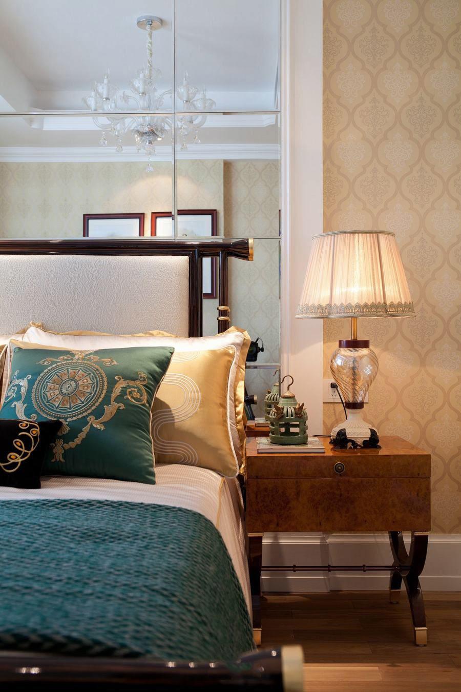 时尚经典欧式风格卧室台灯装饰搭配效果图