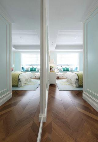 清爽浅绿清新美式风格卧室隔断设计图
