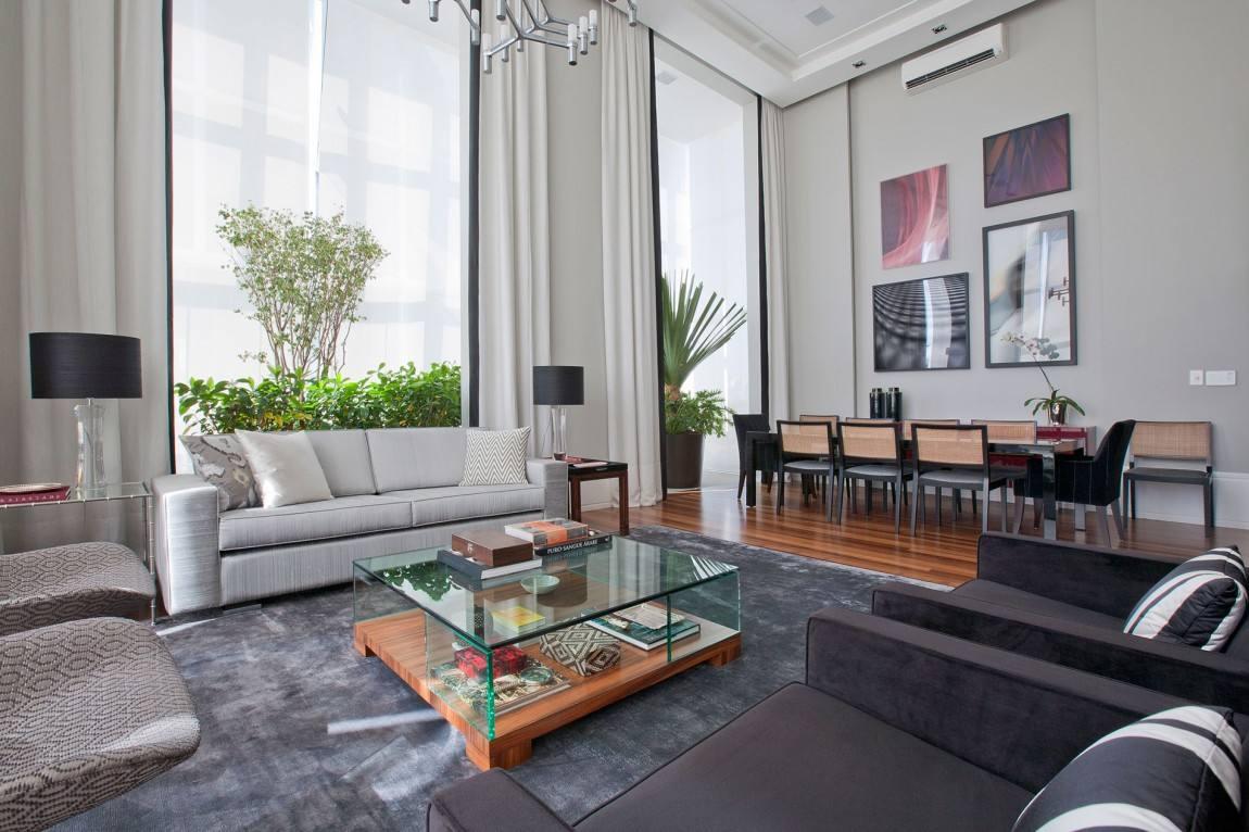 时尚简约现代设计挑高客餐厅一体效果图大全