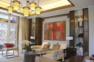 110平仿古中式三居客厅设计装潢案例图