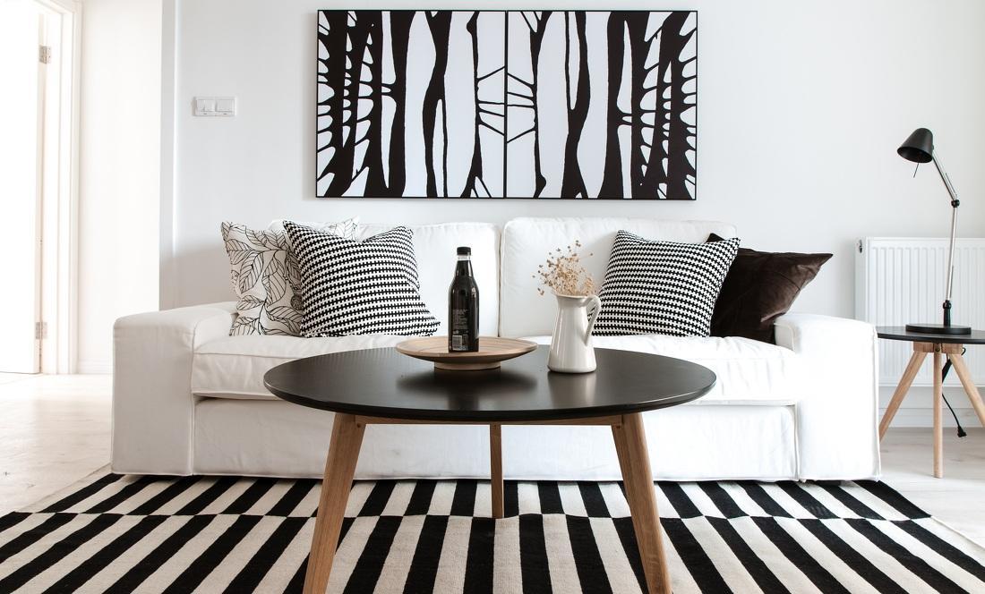 时尚简洁黑白北欧客厅软装配置图