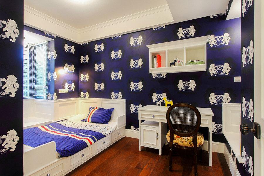 深蓝色美式混搭儿童房设计装修效果图