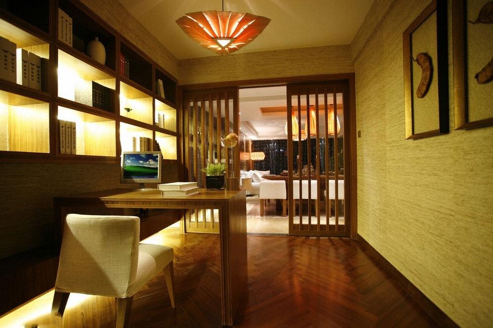 异域东南亚装饰风格书房木质窗棂隔断设计图