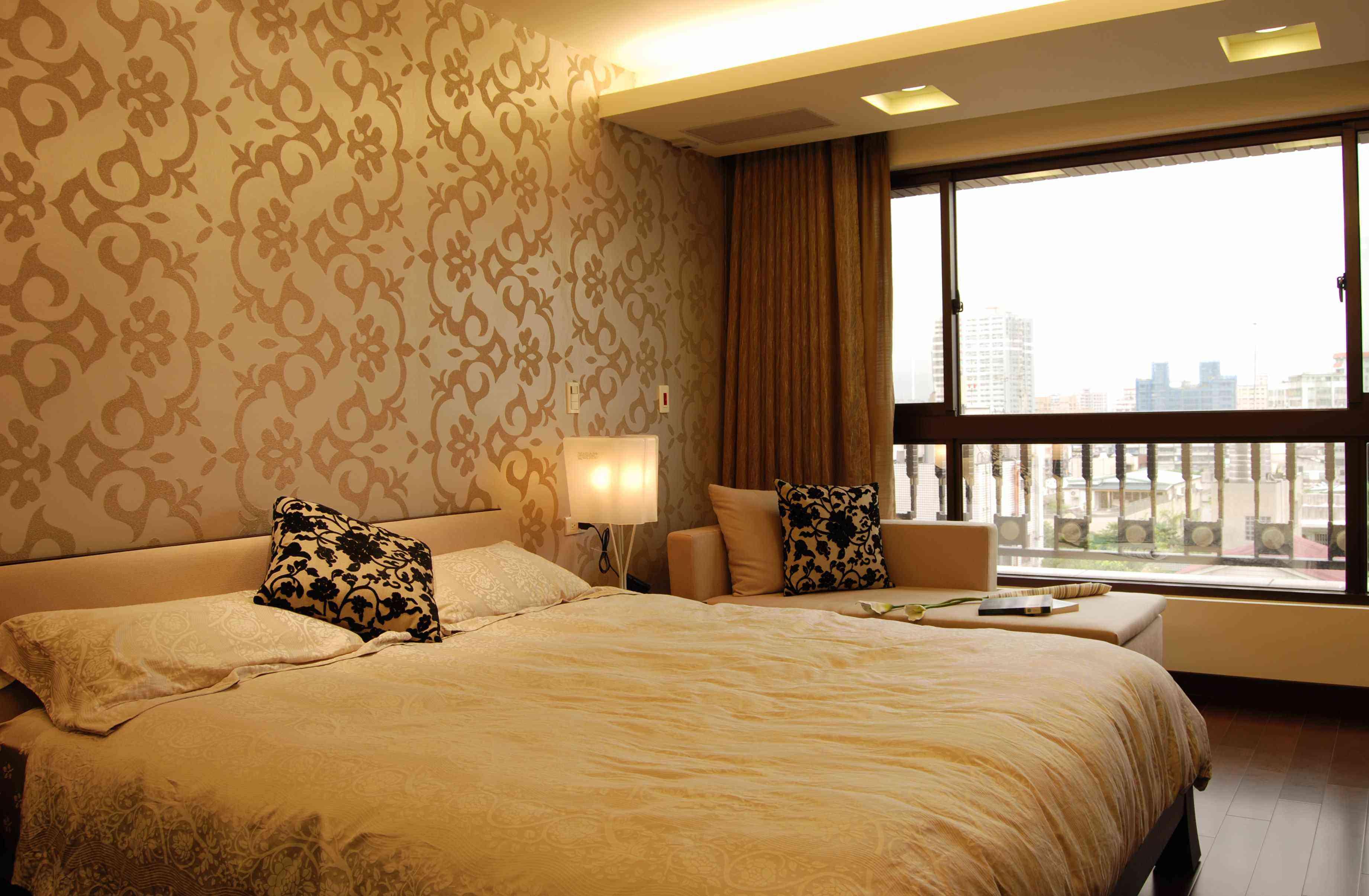 咖啡色中式现代装修风格卧室装饰效果图