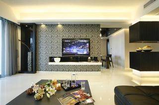 时尚现代风客厅图腾背景墙装饰效果图片