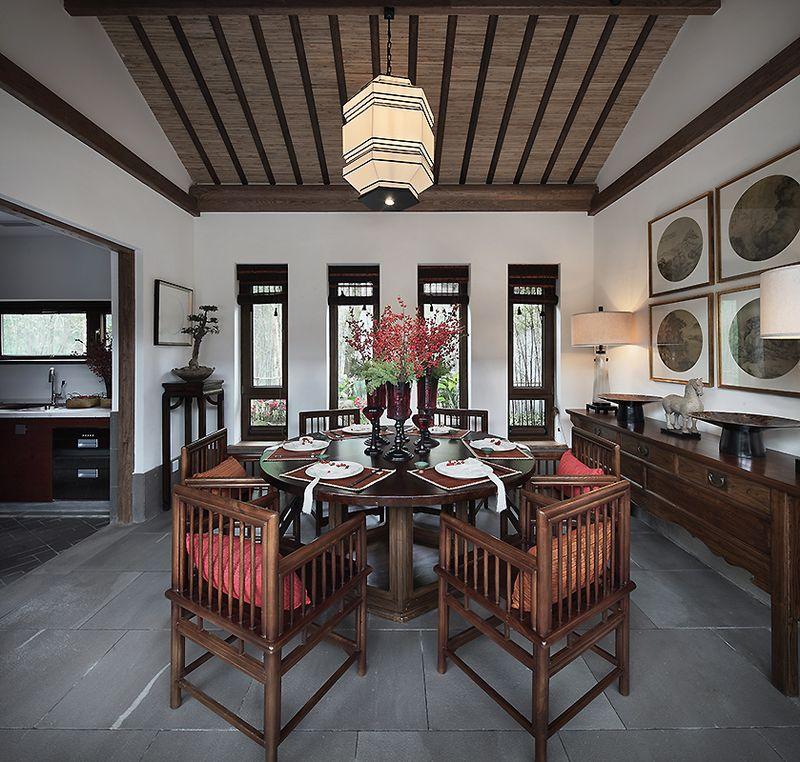清代新中式餐厅设计家居效果图大全