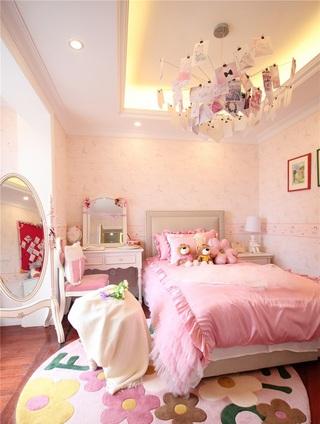 甜美粉色简约欧式公主房设计效果图