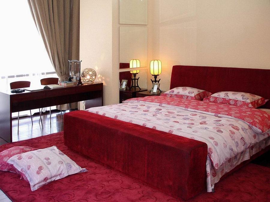 红色喜庆新中式卧室设计搭配效果欣赏图