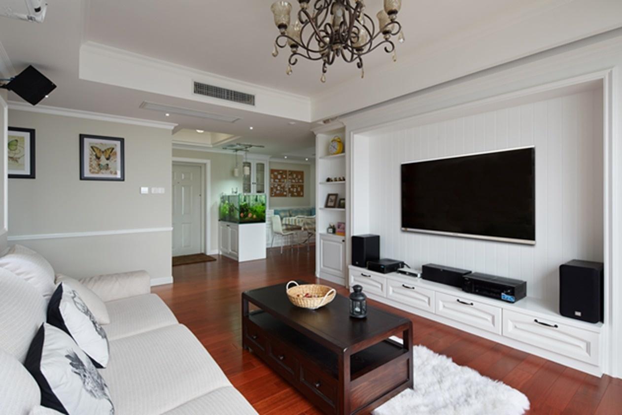 白色简约客厅电视背景墙效果图