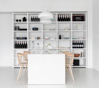 洁净极简主义风格餐厅大理石餐桌搭配效果图