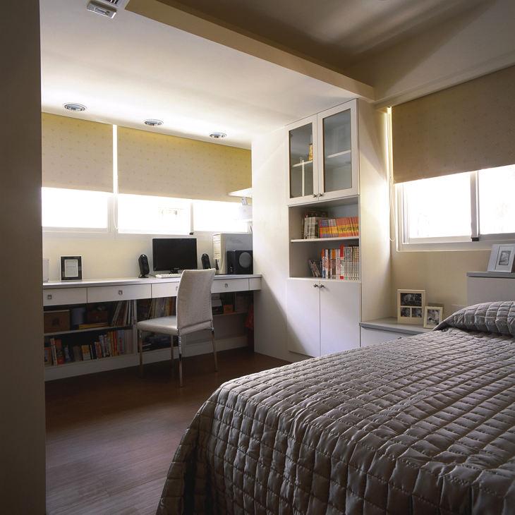 时尚简约现代设计卧室书房一体