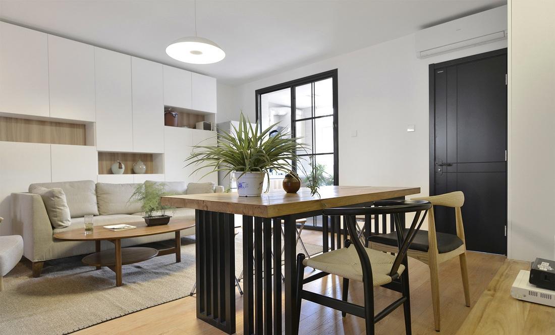 简约现代中式风格公寓餐客厅一体效果图