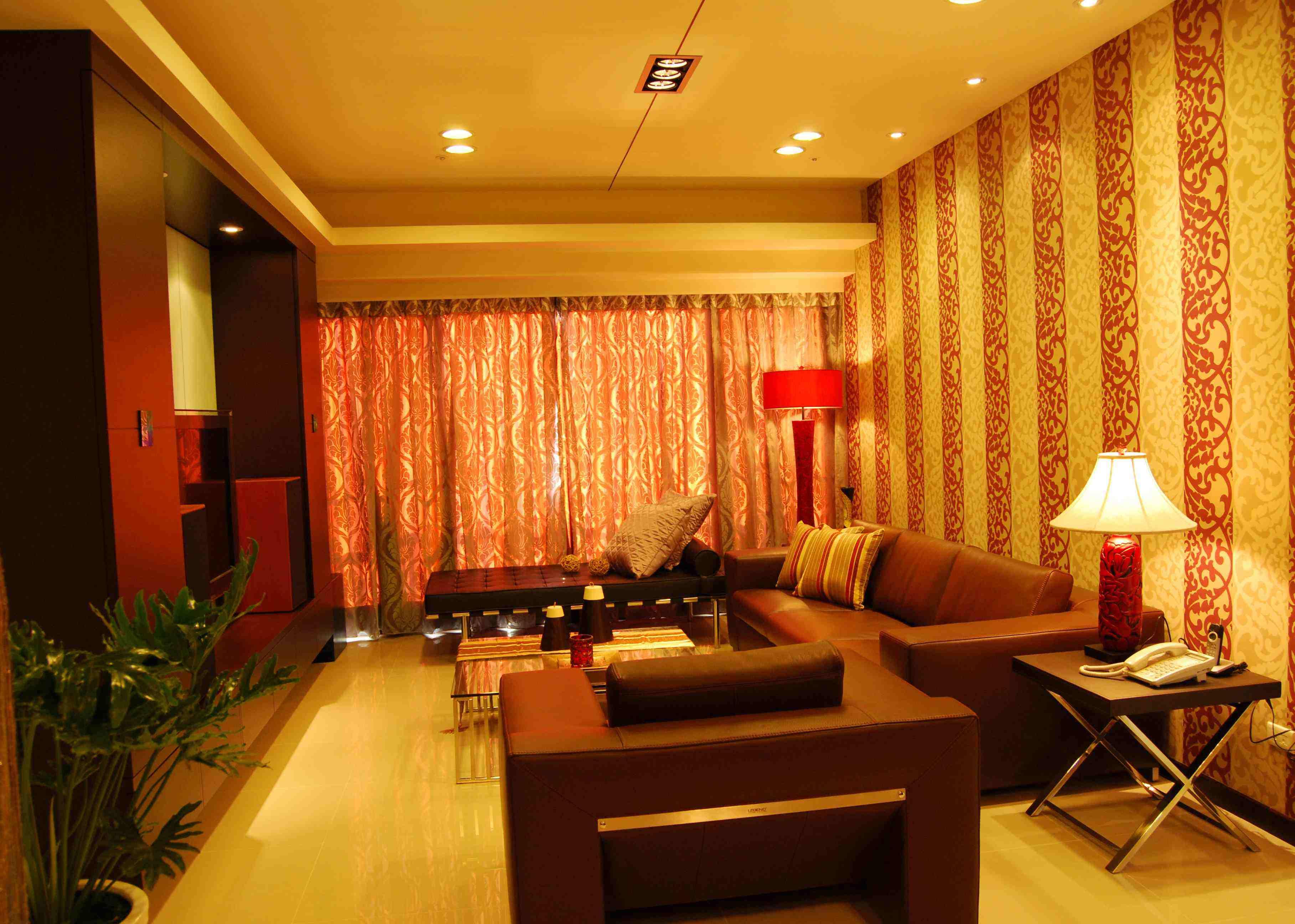 橘黄色现代时尚二居客厅软装装饰效果图