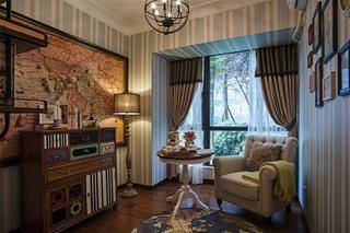 复古与潮流新古典客厅隔断设计效果图