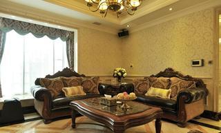 古典大气欧式风格别墅真皮沙发装饰效果图