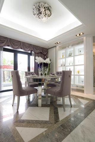 浪漫唯美香芋紫简欧餐厅圆形餐桌效果图